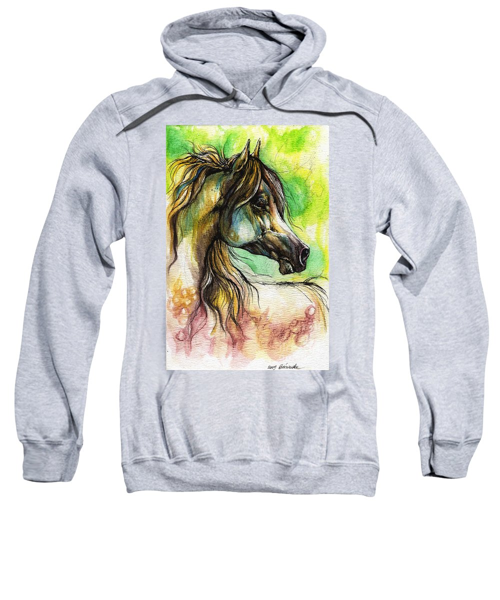 Horse Sweatshirt featuring the painting The Rainbow Colored Arabian Horse by Angel Ciesniarska