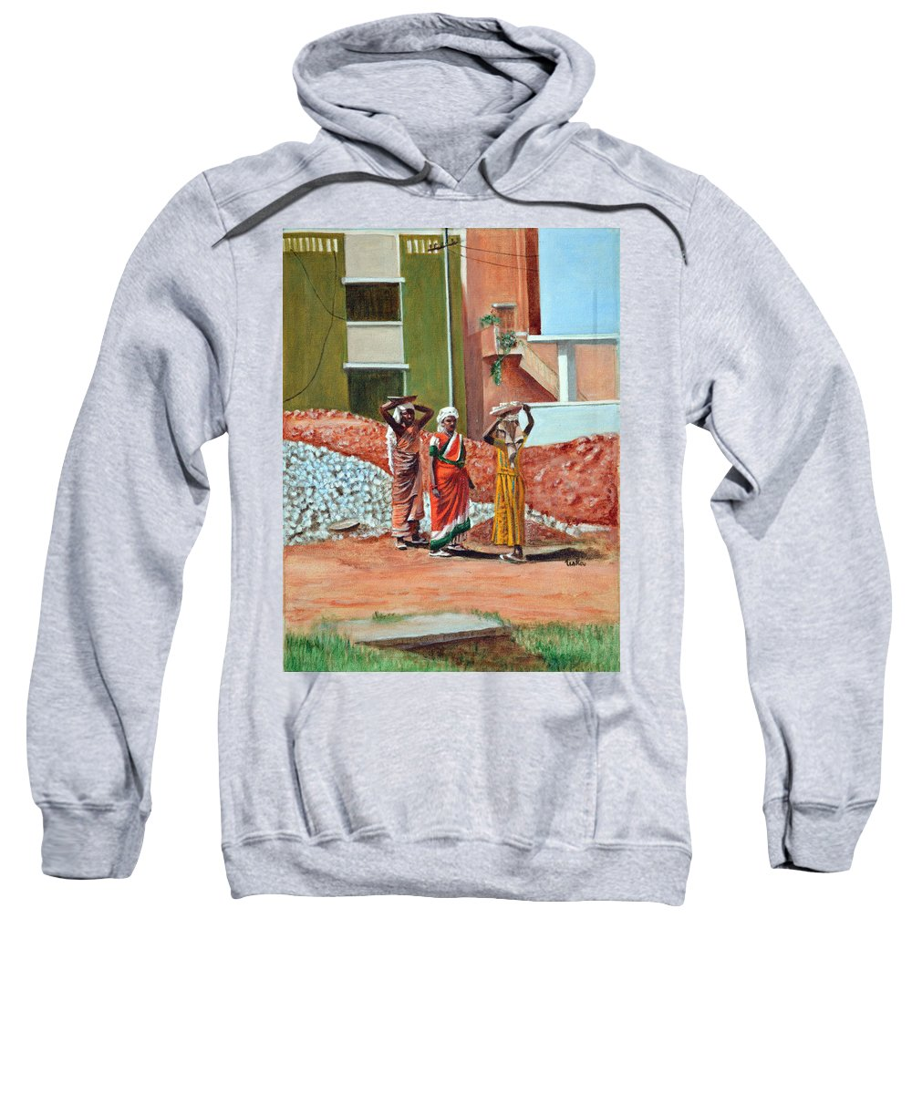 Real Sweatshirt featuring the painting The Real Home Makers by Usha Shantharam