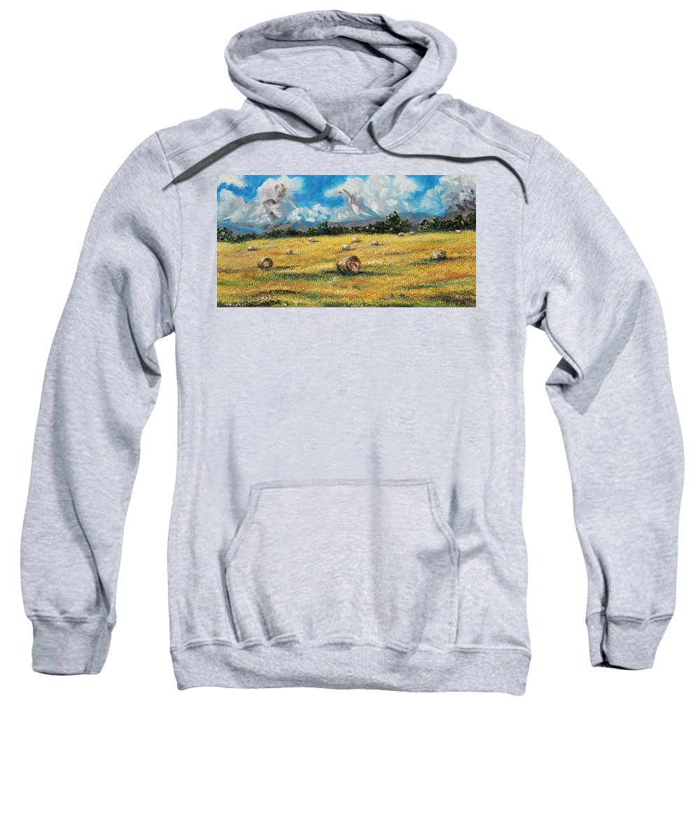 Landscape. Field Sweatshirt featuring the painting The Reaping by Meaghan Troup