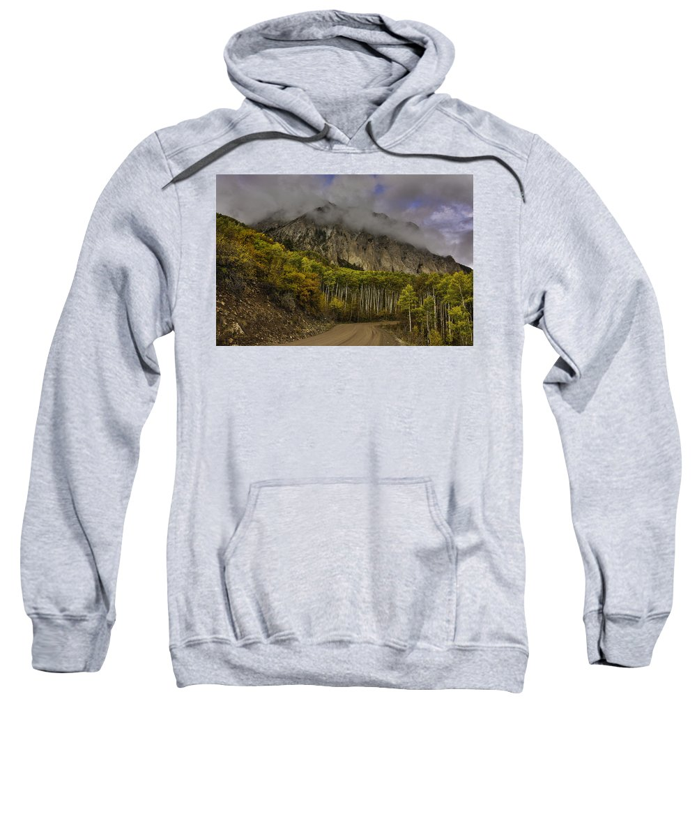 Autumn Landscape With Mountain Backdrop And Stormy Weather Sweatshirt featuring the photograph The Road To Glory by Bill Sherrell