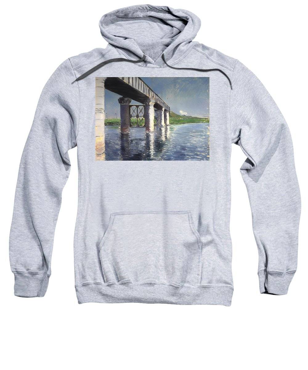 Painting Sweatshirt featuring the painting The Seine And Railroad Bridge At Argenteuil by Mountain Dreams