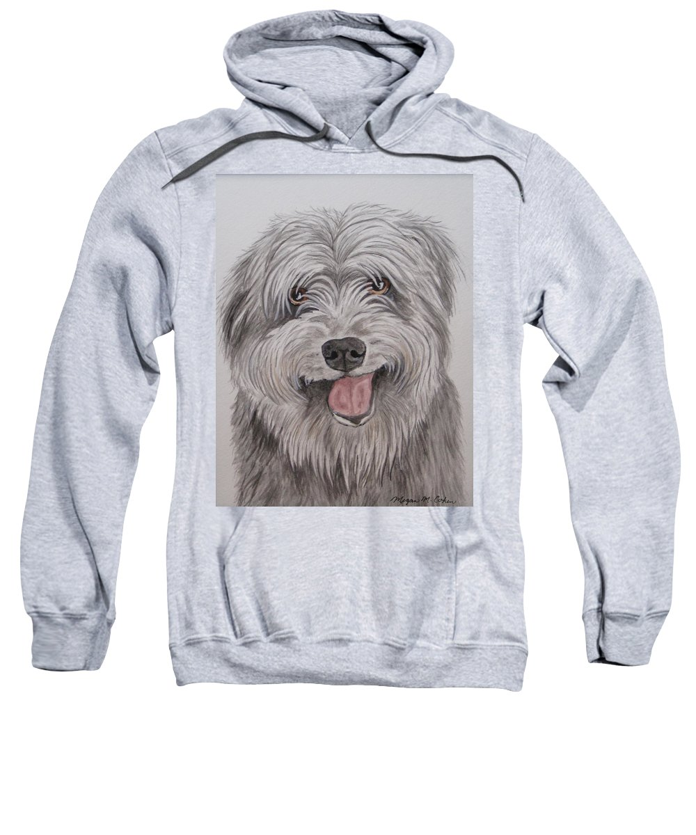 Dog Sweatshirt featuring the painting The Sheepdog by Megan Cohen