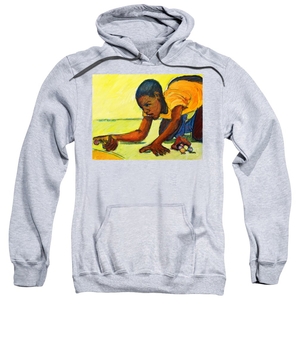 Marbles Sweatshirt featuring the painting The Shot by Charles M Williams
