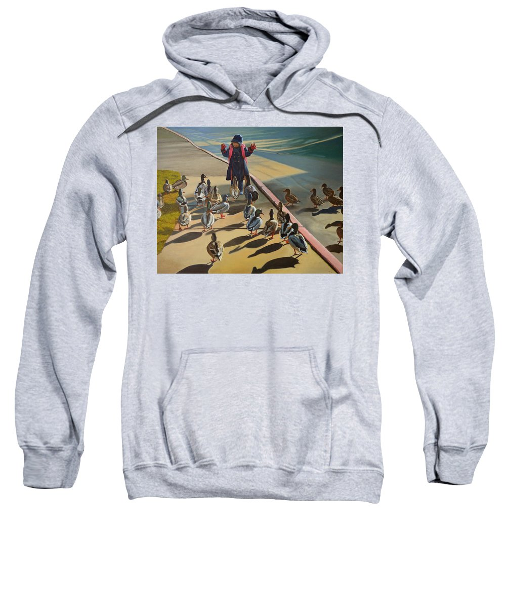Duck Sweatshirt featuring the painting The Sidewalk Religion by Thu Nguyen