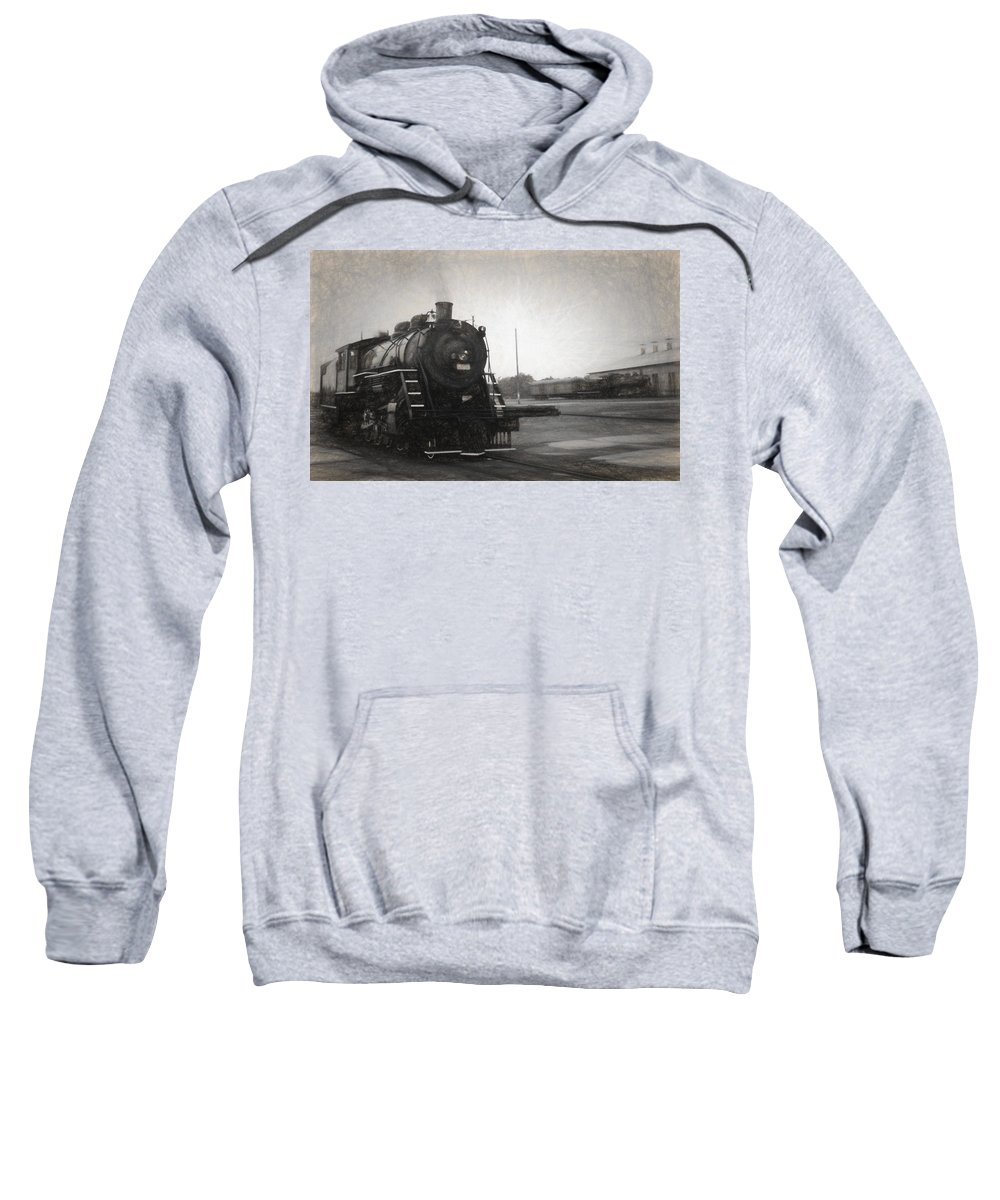 Locomotives Sweatshirt featuring the mixed media The Spencer Yard by Richard Rizzo