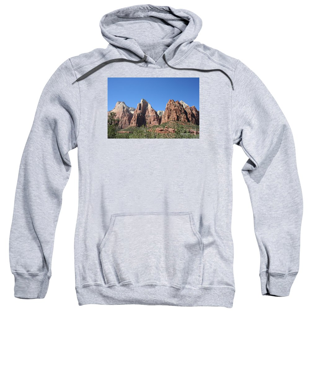 Patriarchs Sweatshirt featuring the photograph The Three Patriarchs - Zion Park Np by Christiane Schulze Art And Photography