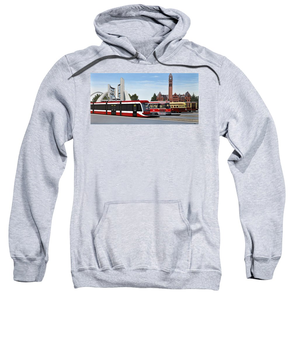 Mcmichael Final Paintings Sweatshirt featuring the painting The Toronto Streetcar 100 Years by Kenneth M Kirsch