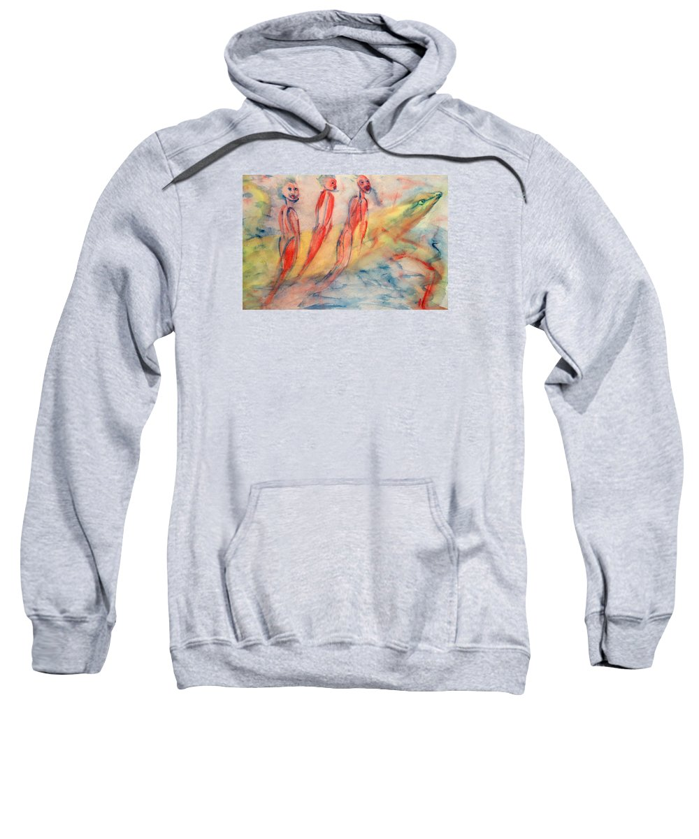 Naked Sweatshirt featuring the painting Naked Bodies Playing With Their Lively Waterbus by Hilde Widerberg