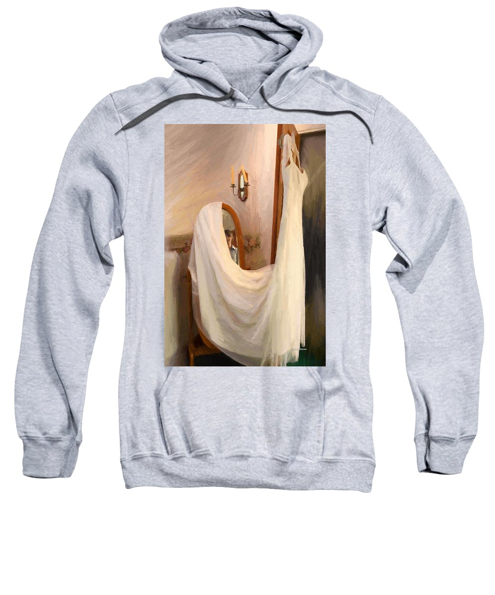 Chapel Sweatshirt featuring the painting The Wedding Gown Is Ready by Angela Stanton