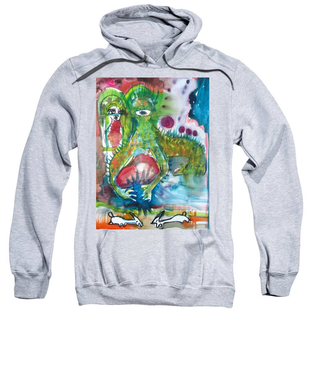 Rabbit Sweatshirt featuring the painting the WEDDING of the RABBITS by Fabrizio Cassetta