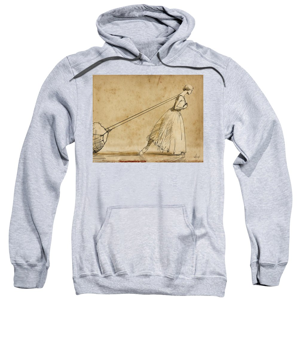 Sisyphus Sweatshirt featuring the drawing The Weight by H James Hoff
