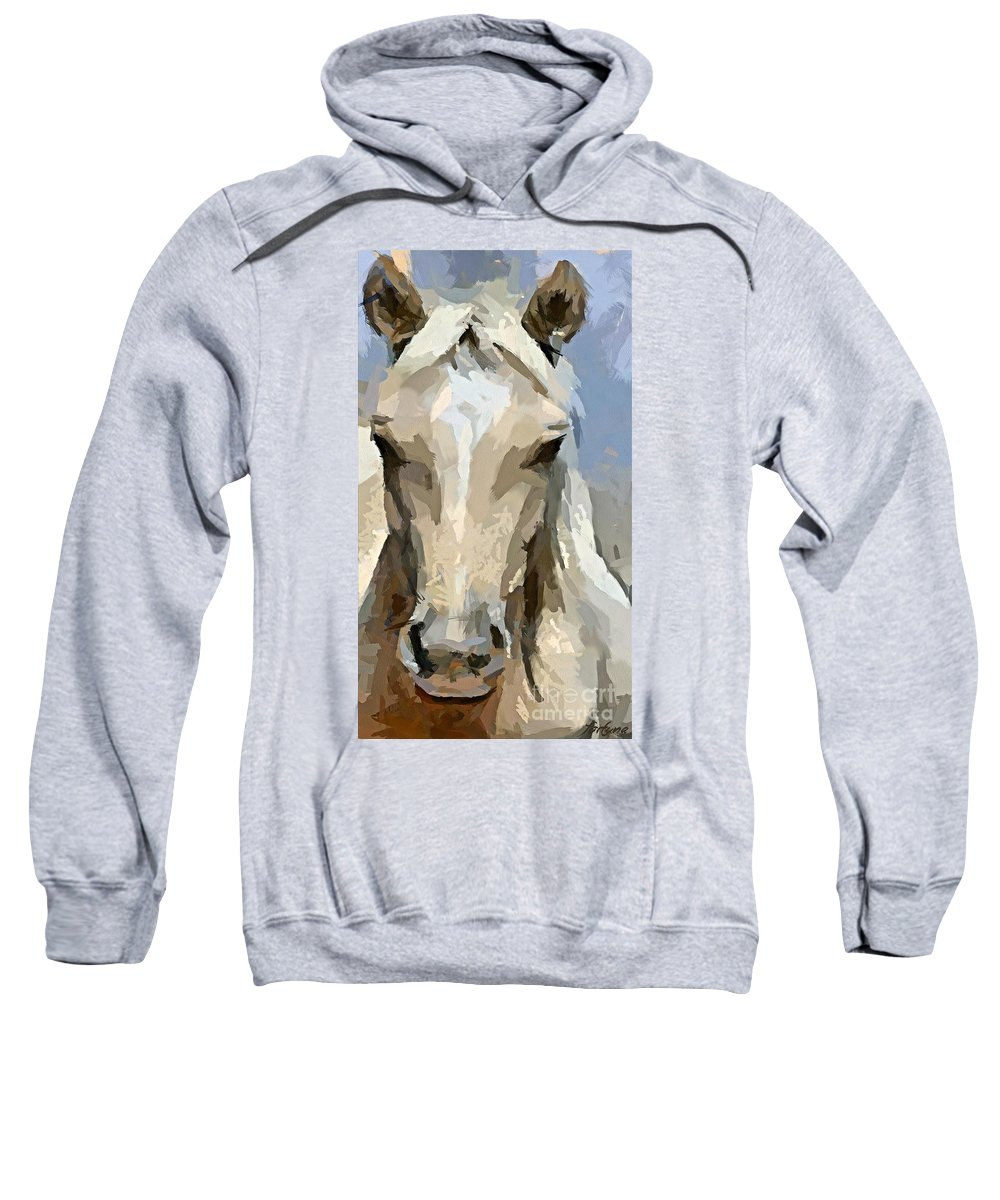 Animal. Horse Sweatshirt featuring the painting The White by Dragica Micki Fortuna