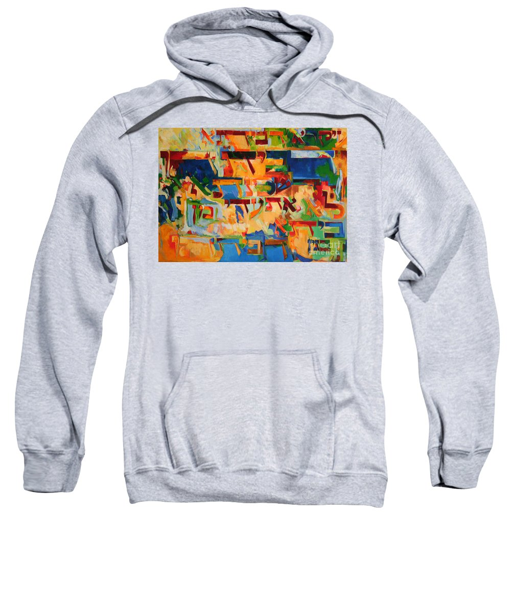 Jewish Art Sweatshirt featuring the painting The Wife Is The Pillar Of The House by David Baruch Wolk