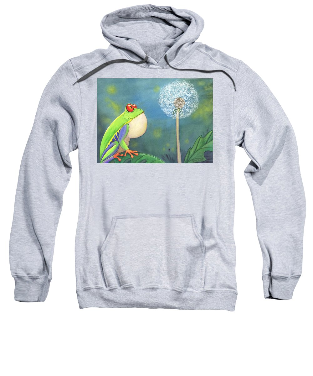 Frog Sweatshirt featuring the painting The Wish by Catherine G McElroy