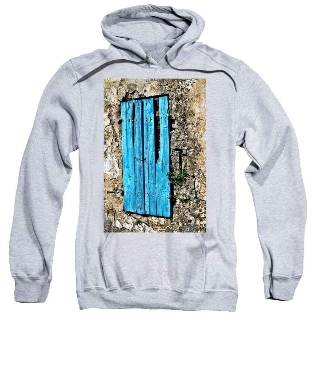 Europe Sweatshirt featuring the photograph The Worn Blue Shutter by Tom Prendergast