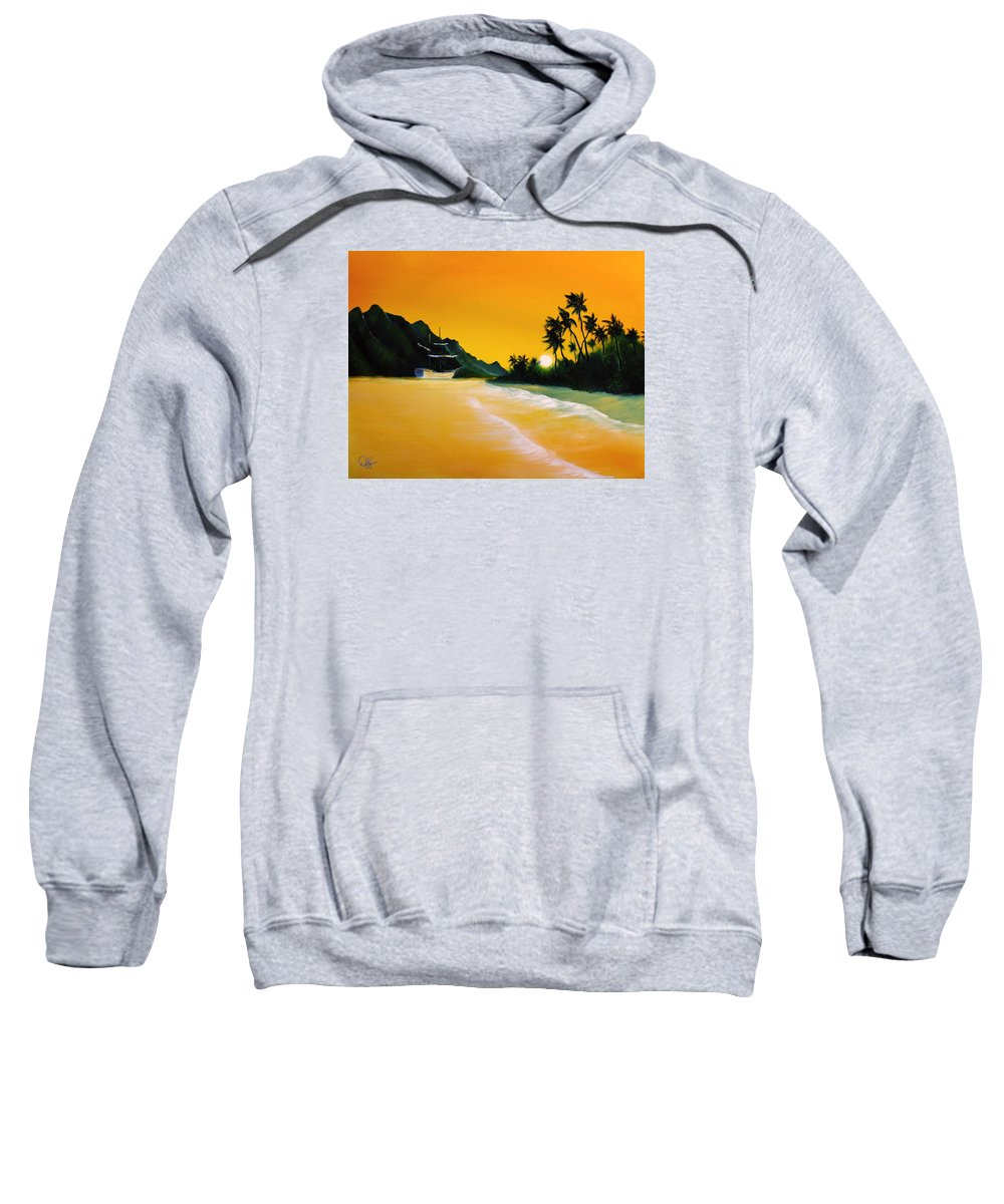 Sea Sweatshirt featuring the painting The Yellow Sea by David Kacey