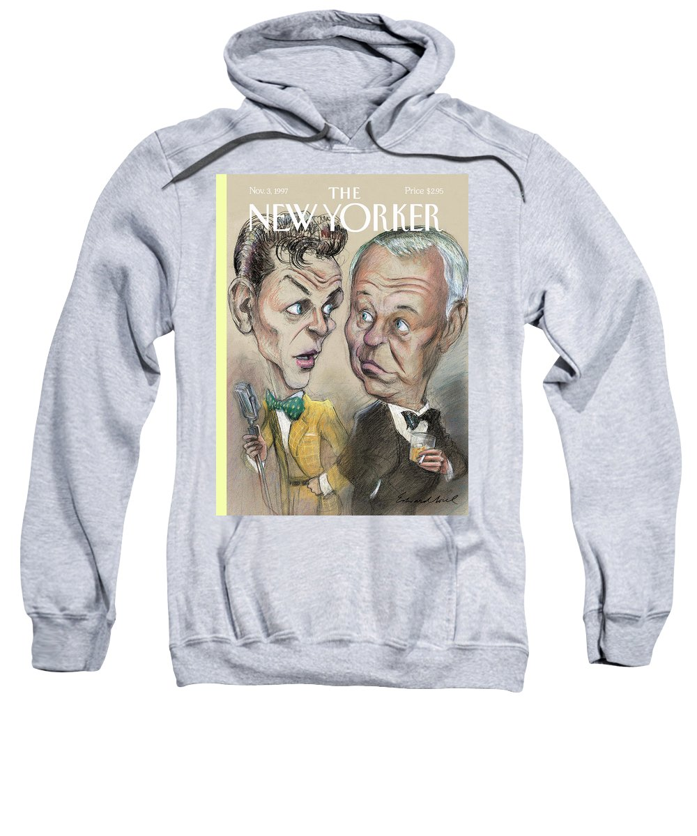 Strangers In The Night Artkey 50922 Eso Edward Sorel Sweatshirt featuring the painting The Young Frank Sinatra Looking At The Old Frank by Edward Sorel