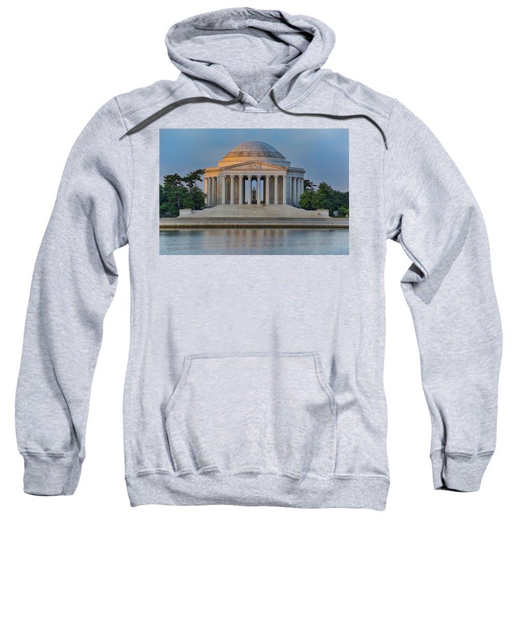 Thomas Jefferson Sweatshirt featuring the photograph Thomas Jefferson Memorial At Sunrise by Sebastian Musial