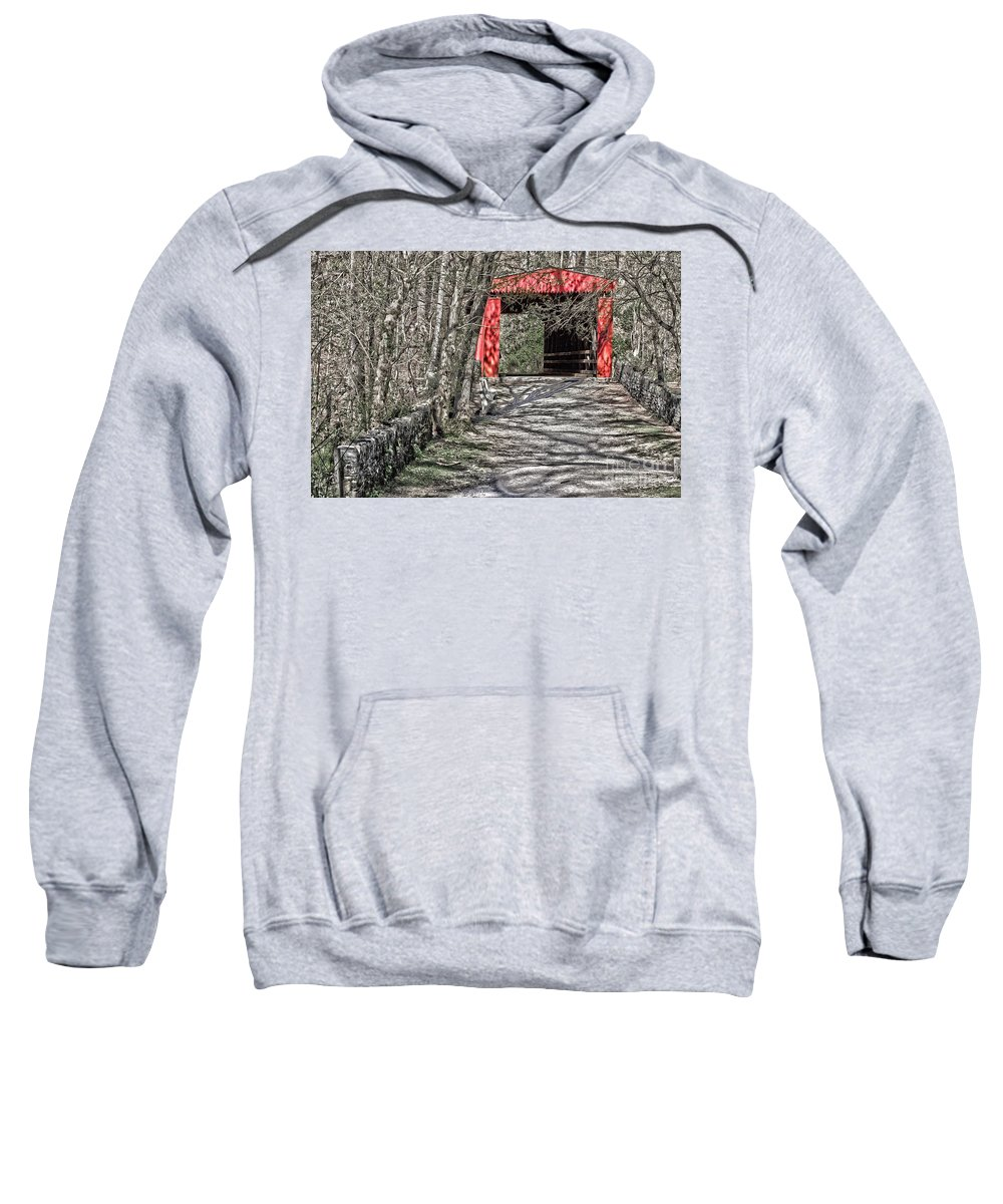 Covered Bridge Sweatshirt featuring the photograph Thomas Mill Covered Bridge by Tom Gari Gallery-Three-Photography