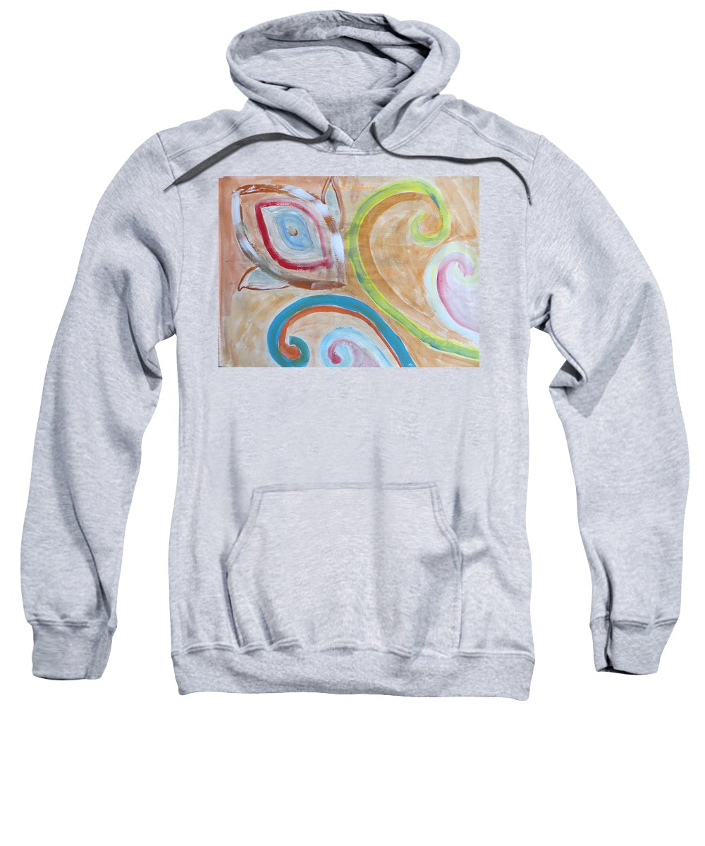 Spiral Floral Work With Strokes Of Acrylic Sweatshirt featuring the painting Thought by Sonali Gangane