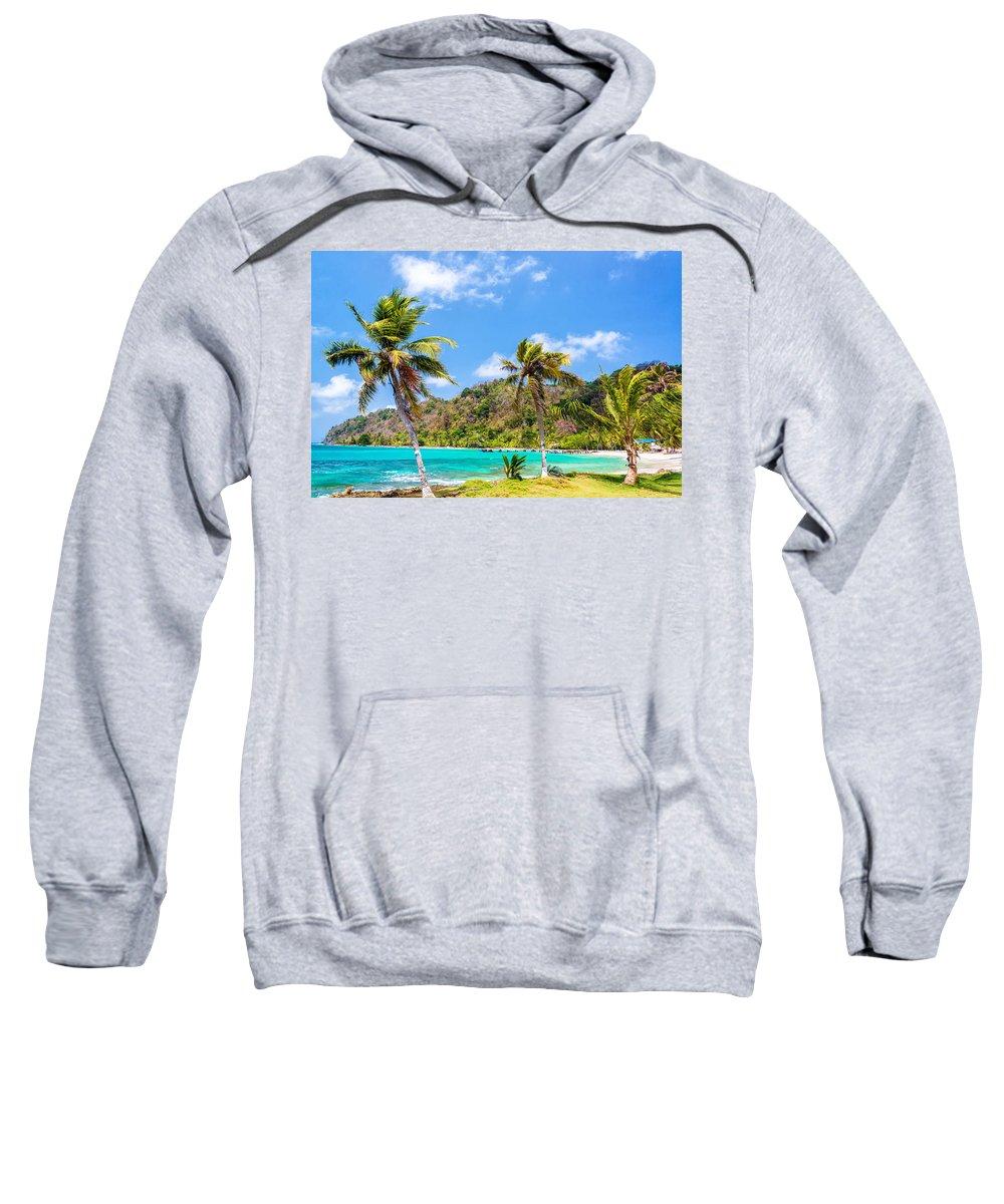 Capurgana Sweatshirt featuring the photograph Three Palm Trees In Panama by Jess Kraft