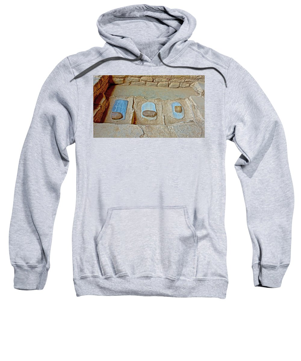 Three Stones For Grinding Corn In Spruce Tree House On Chapin Mesa In Mesa Verde National Park-colorado Spruce Tree House On Chapin Mesa In Mesa Verde National Park Sweatshirt featuring the photograph Three Stones For Grinding Corn In Spruce Tree House In Mesa Verde National Park-colorado by Ruth Hager