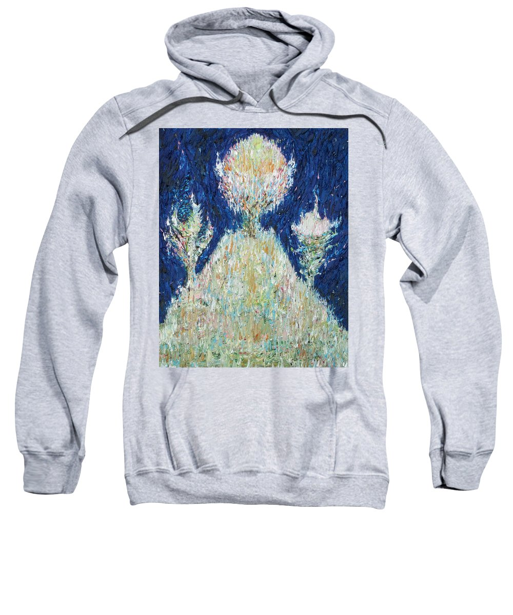 Tree Sweatshirt featuring the painting Three Trees On The Hilltop by Fabrizio Cassetta