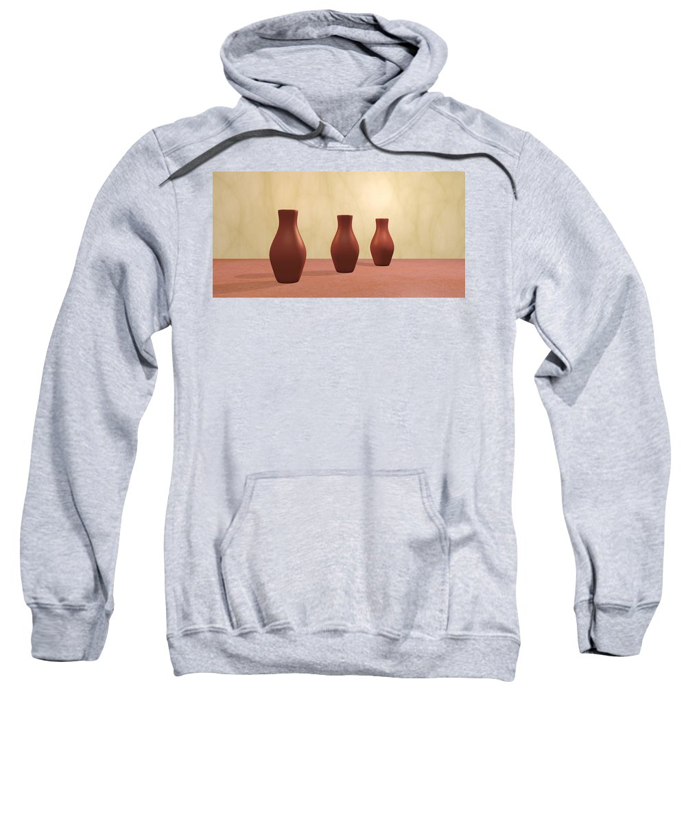 Decorative Sweatshirt featuring the digital art Three Vases by Gabiw Art