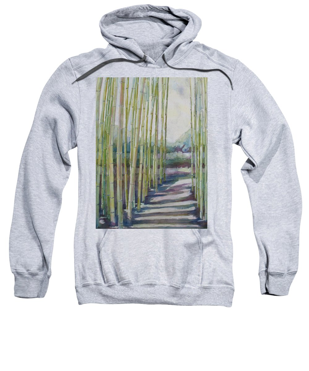 Bamboo Sweatshirt featuring the painting Through The Bamboo Grove by Jenny Armitage