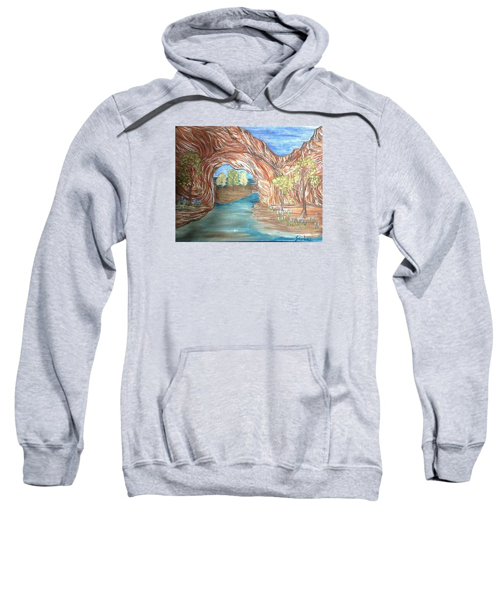 Red Rocks Sweatshirt featuring the painting Through The Rock Window by Suzanne Surber