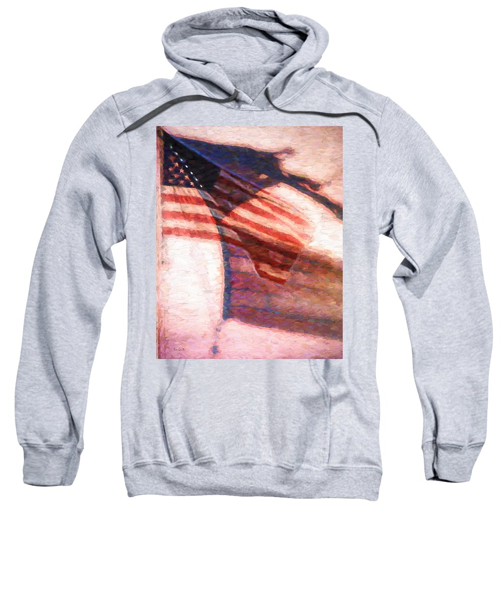 Flag Sweatshirt featuring the painting Through War And Peace by Bob Orsillo