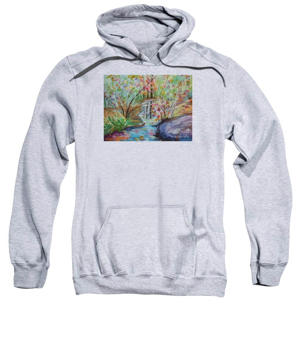 Thunder Mountain Sweatshirt featuring the painting Thunder Mountain Mystery by Ellen Levinson