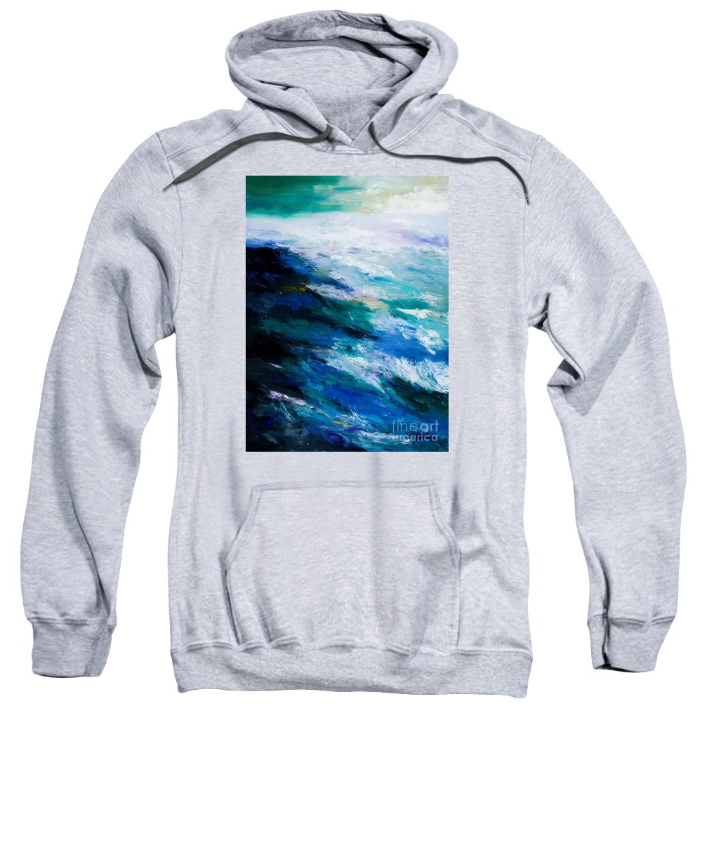 Seascape Sweatshirt featuring the painting Thunder Tide by Larry Martin