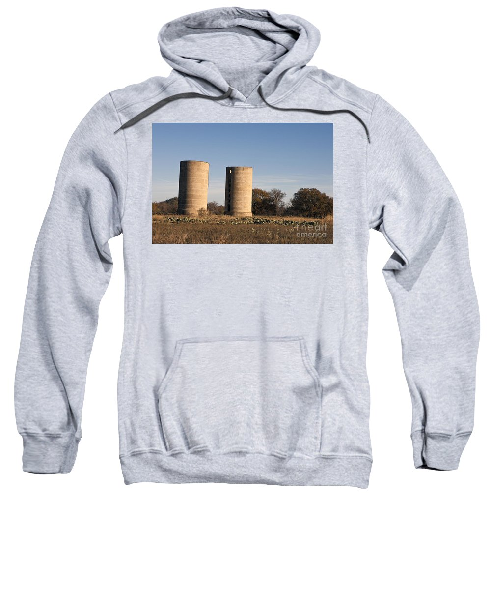 Thurber Sweatshirt featuring the photograph Thurber Dairy Silos Texas by Jason O Watson