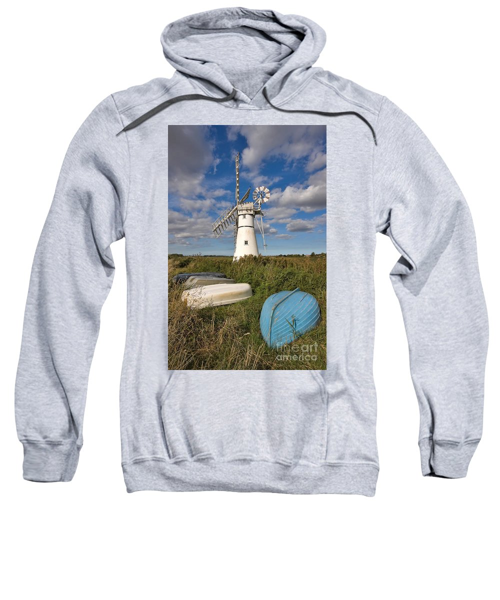 Windmill Sweatshirt featuring the photograph Thurne Dyke Windpump Norfolk by Louise Heusinkveld