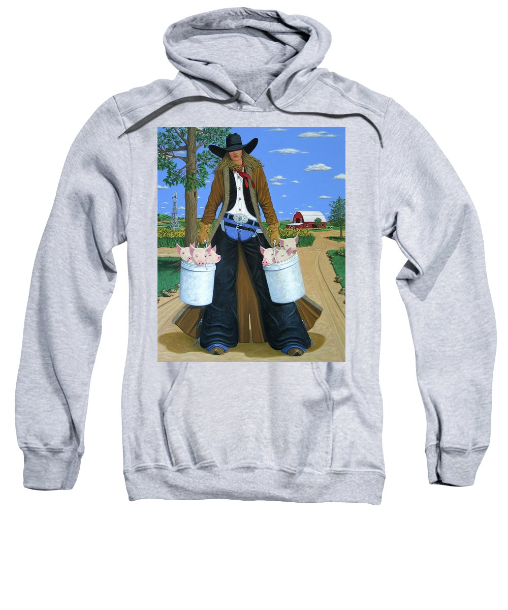Little Piglets Sweatshirt featuring the painting Tickled Pink by Lance Headlee