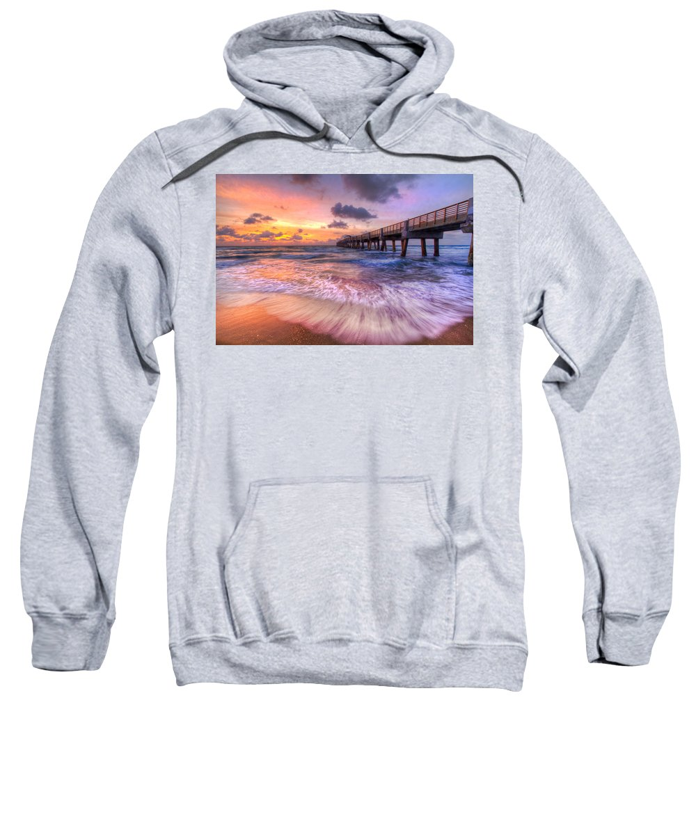 Clouds Sweatshirt featuring the photograph Tidal Lace by Debra and Dave Vanderlaan