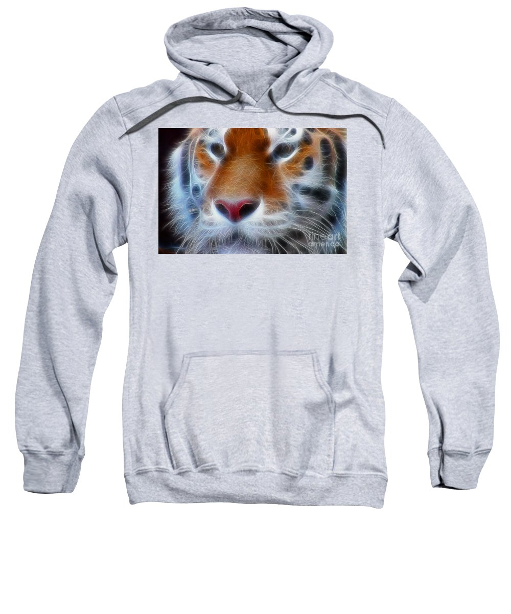 Tiger Sweatshirt featuring the photograph Tiger Face Fractal by Gary Gingrich Galleries