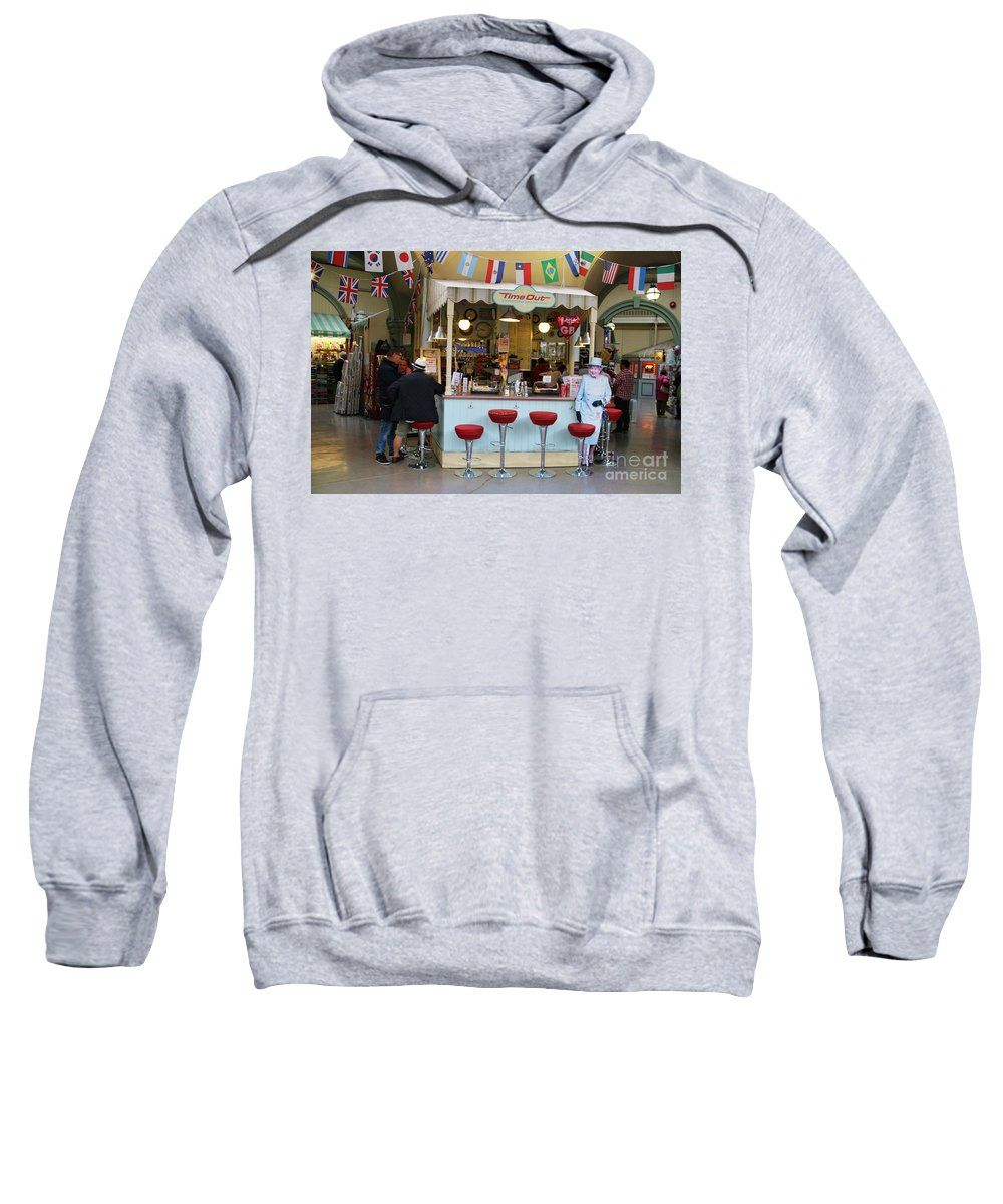 Time Out Snack Bar Sweatshirt featuring the photograph Time Out Snack Bar In Bath England by Jack Schultz