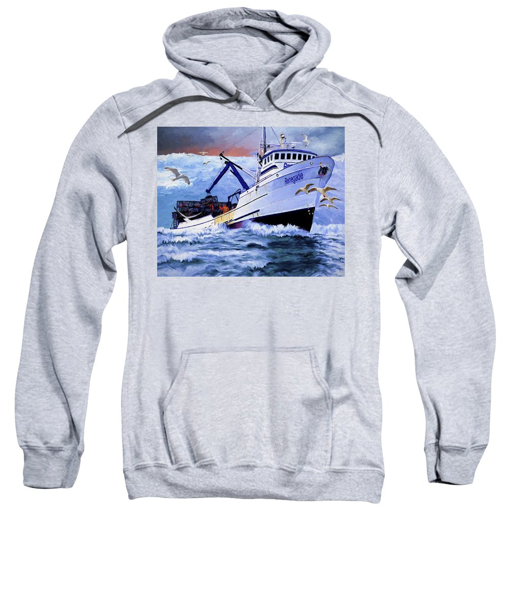 Alaskan King Crabber Sweatshirt featuring the painting Time To Go Home by David Wagner