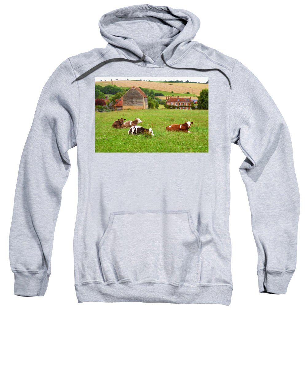 Ox Sweatshirt featuring the painting Time To Rest by Inspirowl Design