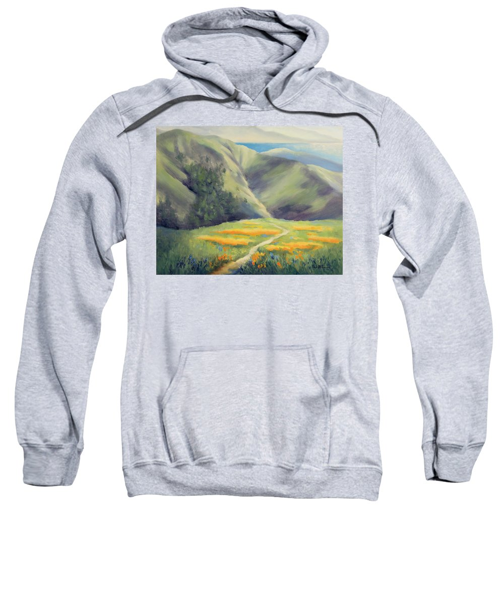 California Poppies Painting Sweatshirt featuring the painting To Soar Like An Eagle by Karin Leonard