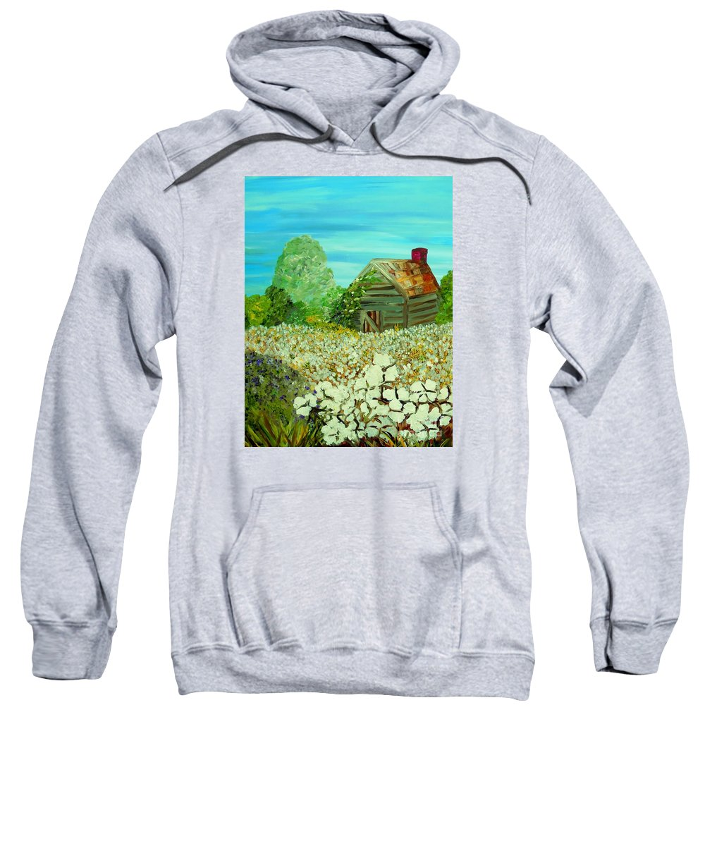 Cotton Sweatshirt featuring the painting To The Edge by Eloise Schneider Mote