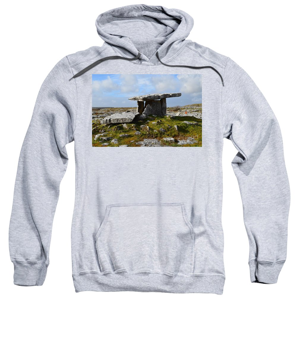 Poulnabrone Portal Tomb Sweatshirt featuring the photograph Tomb In Ireland by DejaVu Designs