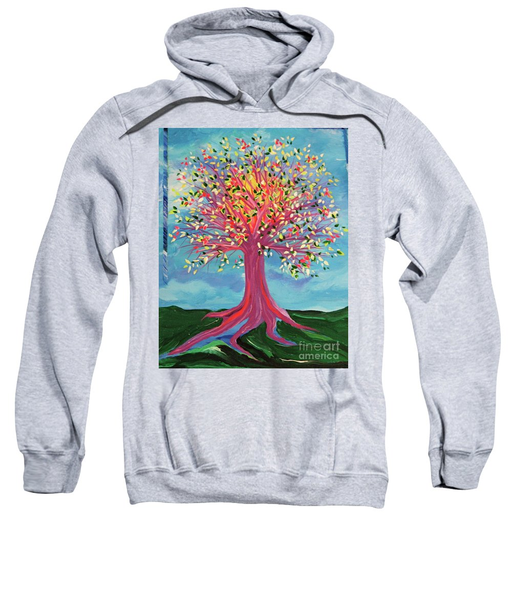 Tree Sweatshirt featuring the painting Tori's Tree By Jrr by First Star Art