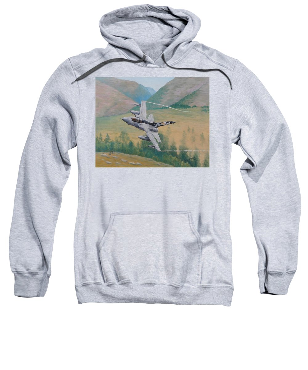 Airplane Sweatshirt featuring the painting Tornado Gr4 - Shiny Two Flying Low by Elaine Jones