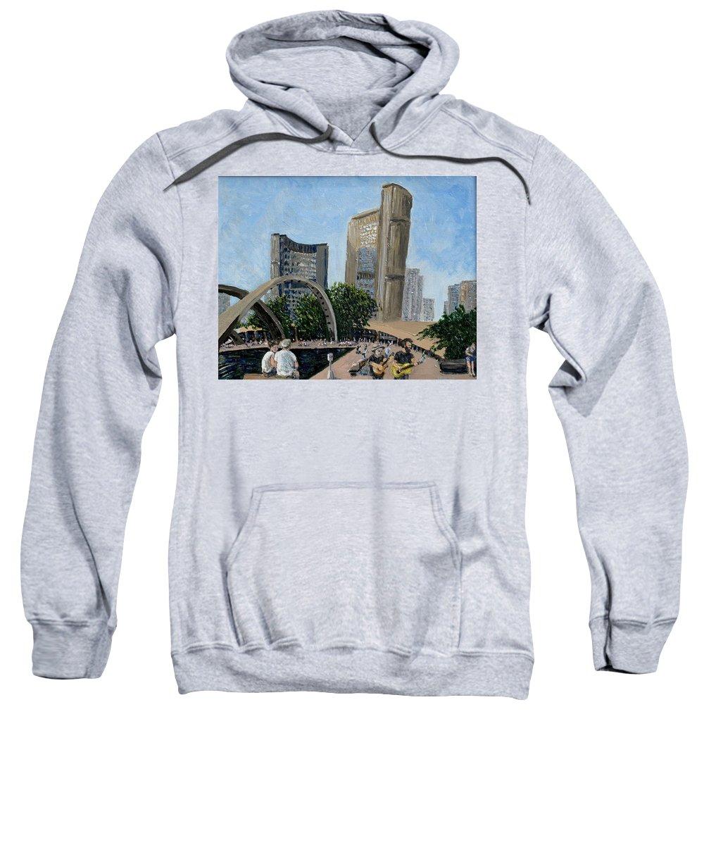 Toronto Sweatshirt featuring the painting Toronto City Hall by Ian MacDonald