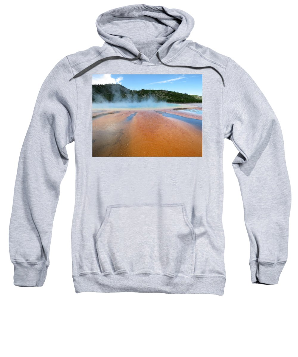 Yellowstone Sweatshirt featuring the photograph Toward The Blue Stream by Laurel Powell