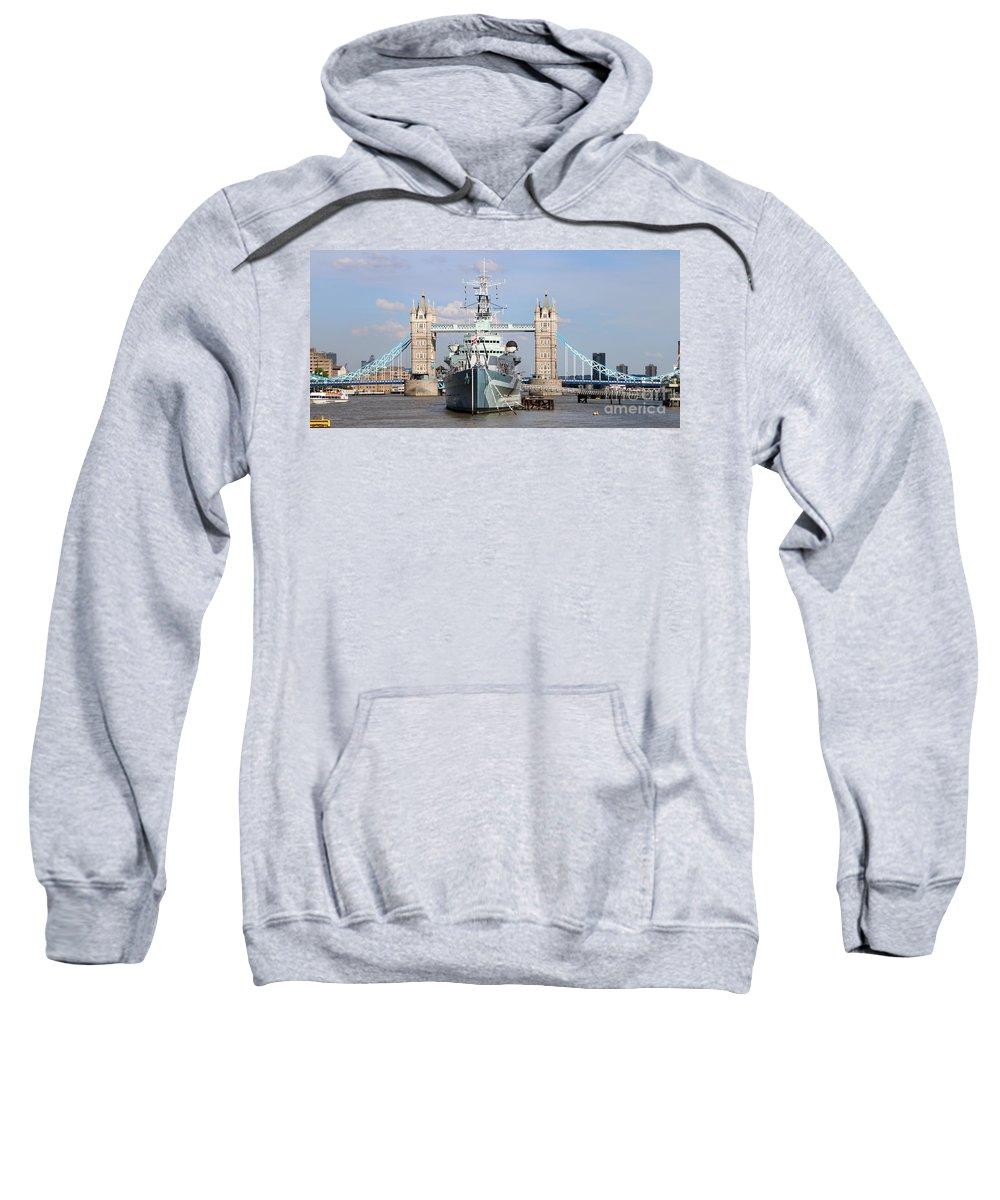 Tower Bridge Sweatshirt featuring the photograph Tower Bridge And Battleship 5863 by Jack Schultz