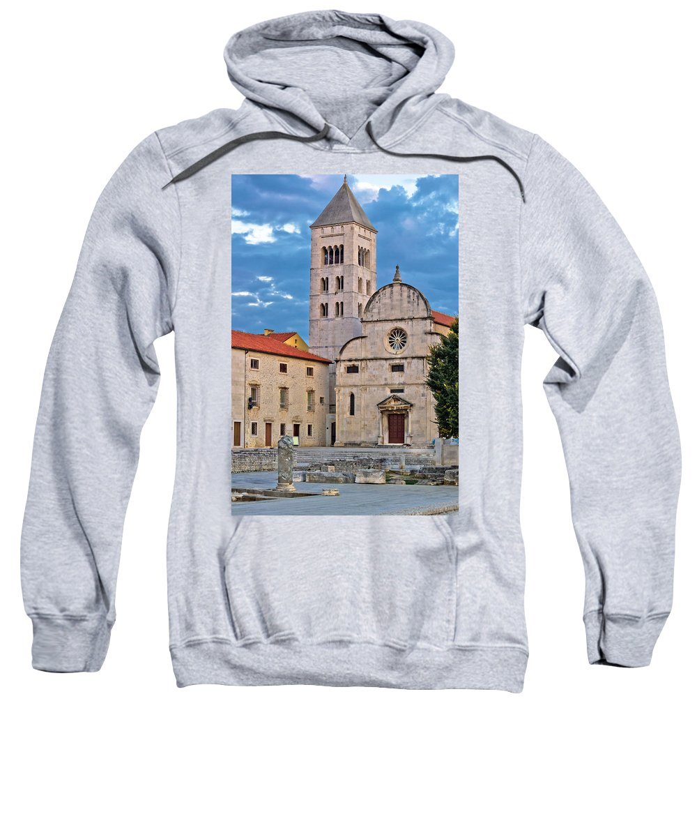 Croatia Sweatshirt featuring the photograph Town Of Zadar Historic Church by Brch Photography